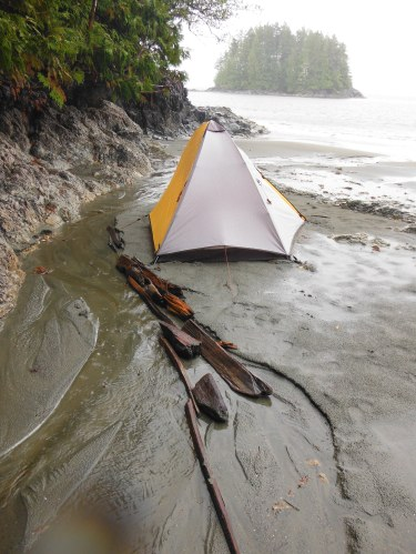 Tent under threat of wash out.